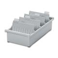Картотека пластиковая HAN (Германия), А5, открытая, горизонтальная, на 1300 карточек, 210-148 мм, серая