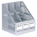 """Лоток вертикальный для бумаг BRAUBERG """"SMART-MAXI"""", шир. 255 мм, 3 отд., сетч., сборн., сер., 231524"""
