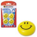 Магниты BRAUBERG (БРАУБЕРГ), диаметр 30 мм, 4 шт., желтые, рисунок улыбка, в блистере