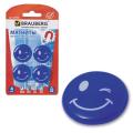 Магниты BRAUBERG (БРАУБЕРГ), диаметр 30 мм, 4 шт., голубые, рисунок улыбка, в блистере
