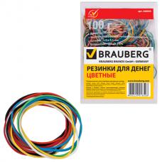 Резинки для денег BRAUBERG (БРАУБЕРГ) (натуральный каучук), цветные, 100 г, 180 шт. ± 5%