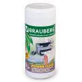 Чистящие салфетки BRAUBERG «Power Clean» (БРАУБЕРГ «Пауэр Клин»), в тубе, 100 шт., влажные, для пластика