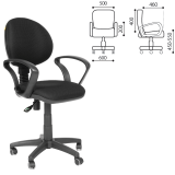 """Кресло оператора """"Офисное №1"""", СН 682 с подлокотниками, черное JP-15-2, ш/к 48223"""