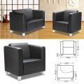Кресло «Милано», 810-840-770 мм, c подлокотниками, экокожа, черное