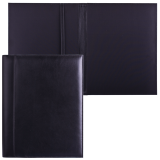 Папка адресная из натуральной кожи без надписи, формат А4, 32х25х1 см, черная, индивид. упак., 7-40