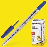 Ручка шариковая BRAUBERG Line, корпус прозрачный, узел 1мм, линия письма 0,5мм, синяя, 141097
