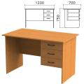 Стол письменный «Фея», 1200-700-750 мм, тумба 3 ящика, цвет орех милан, СФ10.5
