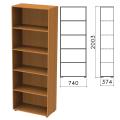 Шкаф (стеллаж) «Фея», 740-370-2000 мм, 4 полки, цвет орех милан, ШФ14.5