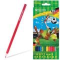 """Карандаши цветные BRAUBERG """"Football match"""", 12 цветов, заточенные, картонная упаковка, 180534"""