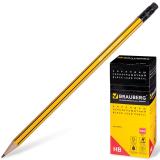 Карандаш чернографитный BRAUBERG (БРАУБЕРГ), НВ, желтый с черными полосами, с резинкой, заточенный, картонная упаковка