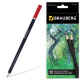 """Карандаши цветные BRAUBERG """"Artist line"""", 12 цветов, черный корпус, заточенные, высшее качество, 180539"""