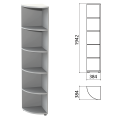 Шкаф (стеллаж) угловой «Этюд», 384-384-1942 мм, 4 полки, серый