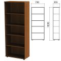 Шкаф (стеллаж) «Эко», 720-355-1830 мм, 4 полки, орех