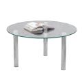 Стол журнальный, стекло/металл, Кристалл - ОМ, 800-800-417 мм, хром