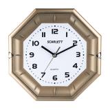 Часы настенные SCARLETT SC-55QZ восьмигранник, белые, золотистая рамка, плавный ход, 25,5-25,5-4 см