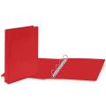 Папка на 4 кольцах с передним прозрачным карманом BRAUBERG, картон/ПВХ, 65 мм, красная, до 400 листов, 223531