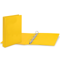 Папка 4 кольца BRAUBERG, картон/ПВХ, с передним прозрачным карманом, 50мм, желтая, до 300 листов