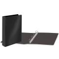 Папка 4 кольца BRAUBERG, картон/ПВХ, с передним прозрачным карманом, 50мм, черная, до 300 листов