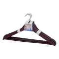 Вешалки-плечики ЛАЙМА «Стандарт», комплект 5 шт., дерево, перекладина, 45 см, цвет темно-коричневый