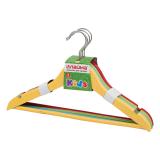Вешалки-плечики ЛАЙМА, детские, комплект 4 шт., дерево, 36 см, цвет ассорти