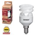 Лампа люминесцентная энергосберегающая SONNEN Т2, 9 (35) Вт, цоколь E14, 8000 часов, теплый свет