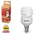Лампа люминесцентная энергосберегающая SONNEN Т2, 11 (55) Вт, цоколь E14, 8000 часов, теплый свет