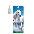 Закладка для книг с линейкой 3D BRAUBERG (БРАУБЕРГ), объемная, рисунок белый конь, декоративный шнурок-завязка