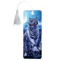 Закладка для книг с линейкой 3D BRAUBERG (БРАУБЕРГ), объемная, рисунок белый тигр, декоративный шнурок-завязка