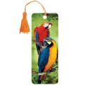 Закладка для книг с линейкой 3D BRAUBERG (БРАУБЕРГ), объемная, рисунок попугаи, декоративный шнурок-завязка