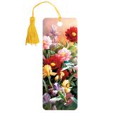 Закладка для книг с линейкой 3D BRAUBERG (БРАУБЕРГ), объемная, рисунок цветы, декоративный шнурок-завязка