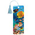 Закладка для книг с линейкой 3D BRAUBERG (БРАУБЕРГ), объемная, рисунок экзотические рыбки, декоративный шнурок-завязка