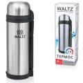 Термос WALTZ (ВАЛЬЦ) классический с узким горлом, 1,8 л, нержавеющая сталь, пластиковая ручка