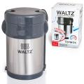 Термос WALTZ (ВАЛЬЦ) пищевой с широким горлом, 2 л, нержавеющая сталь, + ложка, вилка, 3 чашки