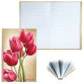 Блокнот BRAUBERG (БРАУБЕРГ), А5, 135-206 мм, 96 л., «Цветы», твердая ламинированная обложка, клетка