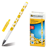Ручка шариковая BRAUBERG Смайлики, корпус с печатью, узел 0,7мм, линия 0,35мм, синяя, 141534