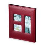 Фотоальбом BRAUBERG 20 магнитных листов, 23*28см, под кожу страуса, на кольцах, бордовый, 390692