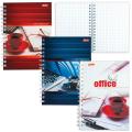 Записная книжка, А6, 105-145 мм, 80 л., «Хатбер», гребень, обложка мелованный картон, «Офис»