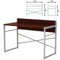 Стол письменный на металлокаркасе, 1200-590-855 мм, серый каркас, ЛДСП, «орех»