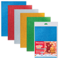Цветная пористая резина (фоамиран) для творчества А4, толщина 2мм, BRAUBERG 5л. 5цв самокл, блестки