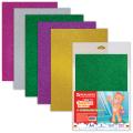 Цветная пористая резина (фоамиран) для творчества А4, толщина 2мм, BRAUBERG 5л. 5цв, с блестками