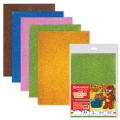 Цветная пористая резина (фоамиран) для творчества А4, толщина 2мм, BRAUBERG 5л. 5цв, суперблестки