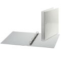 Папка на 4 кольцах с передним прозрачным карманом BRAUBERG, 35 мм, картон/ПВХ, белая, до 180 листов, 221486