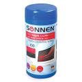 Чистящие салфетки SONNEN, в тубе 100 шт., для экранов мониторов и оптических поверхностей, Германия