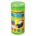 Чистящие салфетки SONNEN, антибактериальные, в тубе 100 шт., влажные, для любых поверхностей, Германия