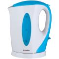 Чайник SONNEN KT-003BL, открытый нагревательный элемент, 1,7л, 2200Вт, пластик, белый/синий