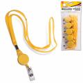 Держатели-рулетки для бэджей BRAUBERG (БРАУБЕРГ), комплект 5 шт., 70 см, с желтой лентой 45 см, желтые