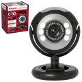 Веб-камера DEFENDER C-110, 0.3Мп, микрофон, USB 2.0/1.1+3.5мм jack, подсветка, рег.креп., черн., 63110