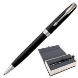 """Ручка шариковая PARKER """"Sonnet Matte Black CT"""", латунь, черный лак, детали покрыты палладием, 1931524, черная"""