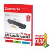 Пленки-заготовки для ламинирования BRAUBERG, КОМПЛЕКТ 100шт, для формата А4, 75 мкм, 530800
