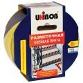 Клейкая лента разметочная 50 мм х 50 м, желто-черная, UNIBOB, основа-ПВХ, европодвес, 48905